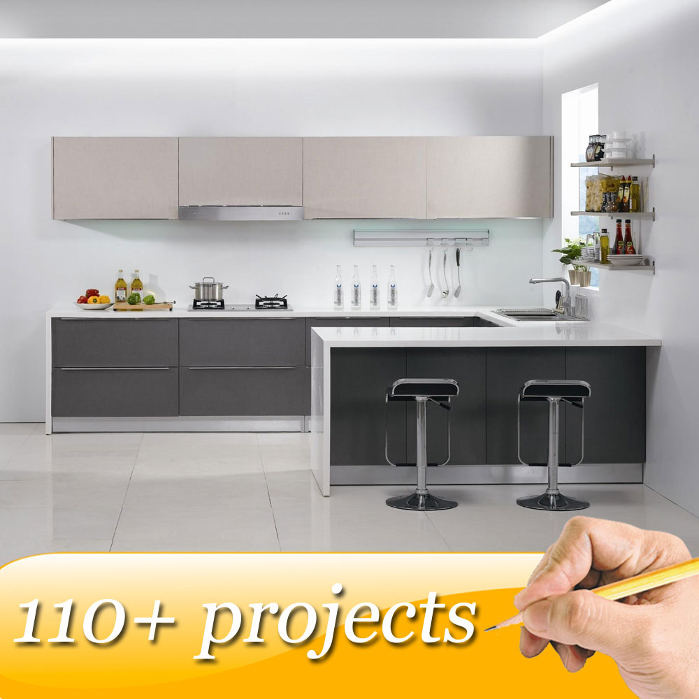Popular modern style prefabricated kitchen cabinets, sizes kitchen furniture