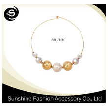 Wholesale big pearl beaded necklace,made of metal and imitation pearl,fascinating