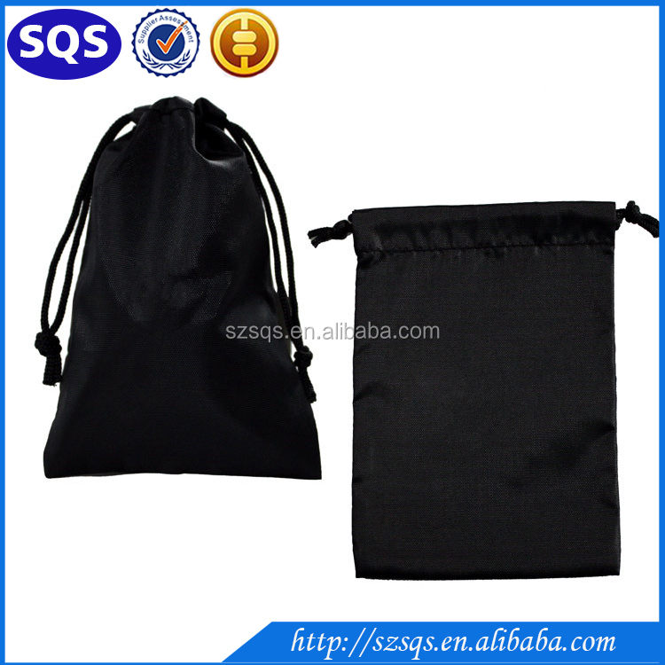 Top quality customize logo printing blank black cotton drawstring bag