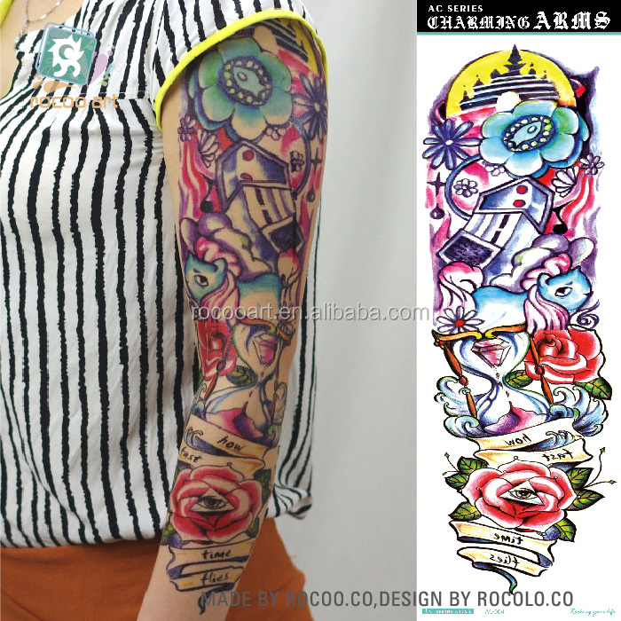 AC-004/Supper Big Full Arm Temporary Tattoos Body Art Tattoo Sleeve Stickers, Full Arm,Eyes Flower
