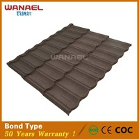 Fireproof roofing materials colorful stone chip coated steel roof tile