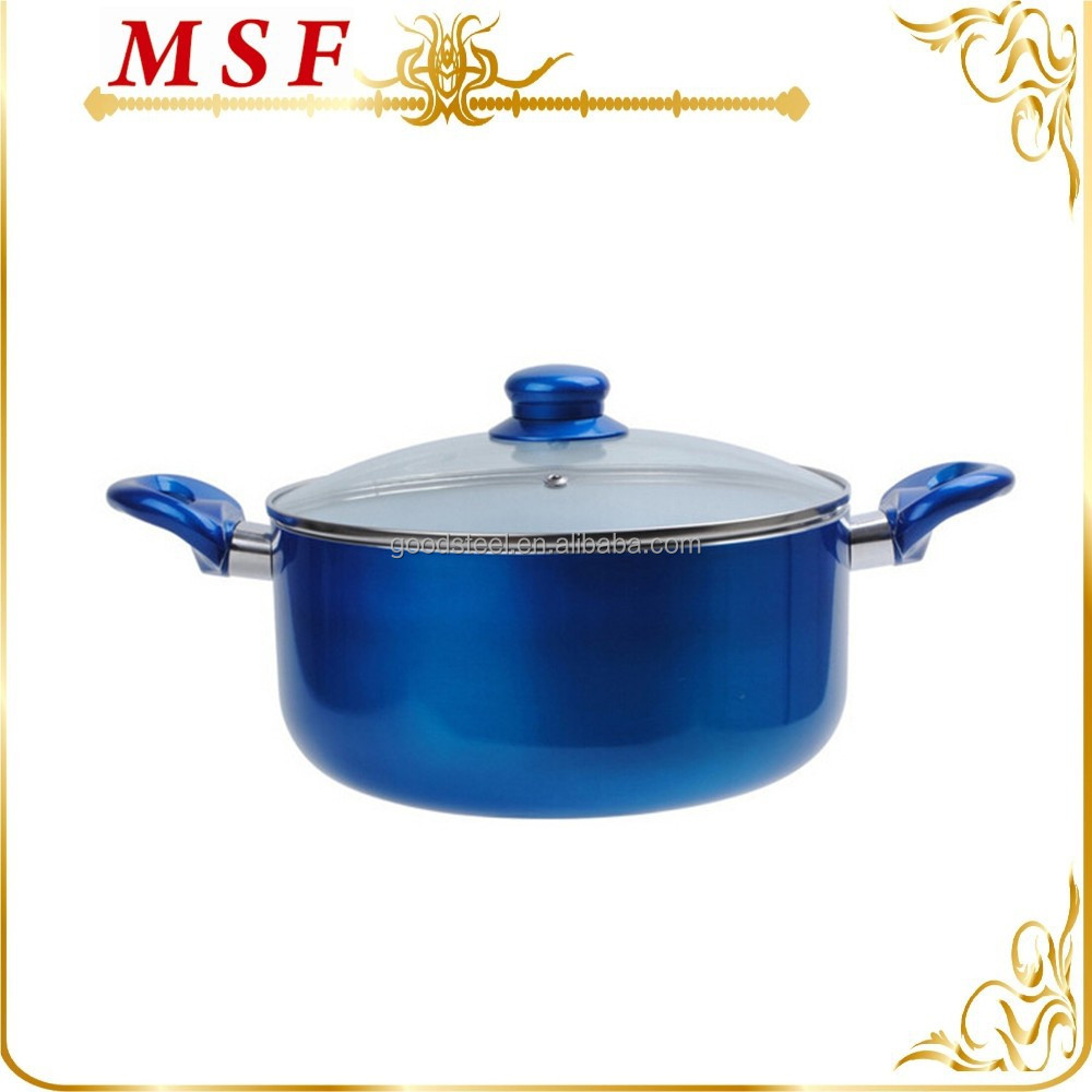 MSF-6398-1 pressing aluminum cookware 24*11cm casserole cooking pot white ceramic & shinny painting