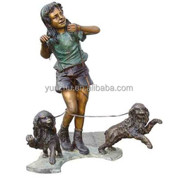 western style casting outdoor Garden Bronze girl with two dogs Statue
