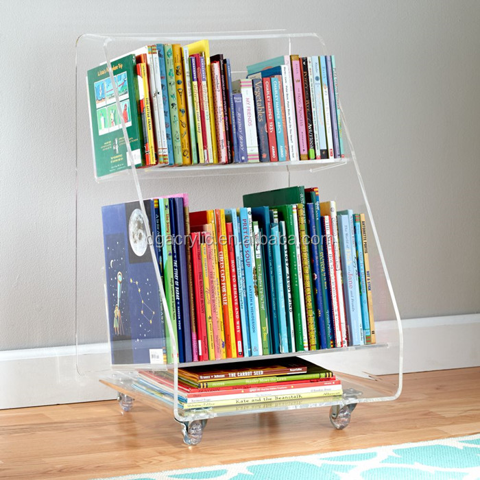 Wholesale book storage cart acrylic lucite plexiglass bookcase