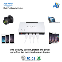 Retail mobile phone store display security solution,multi-port anti-theft device for mobile phone display security A36-4port