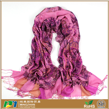 Women's 100% merino wool pashmina pink scarves with fashion multi color cashew nut print tassel scarf wraps