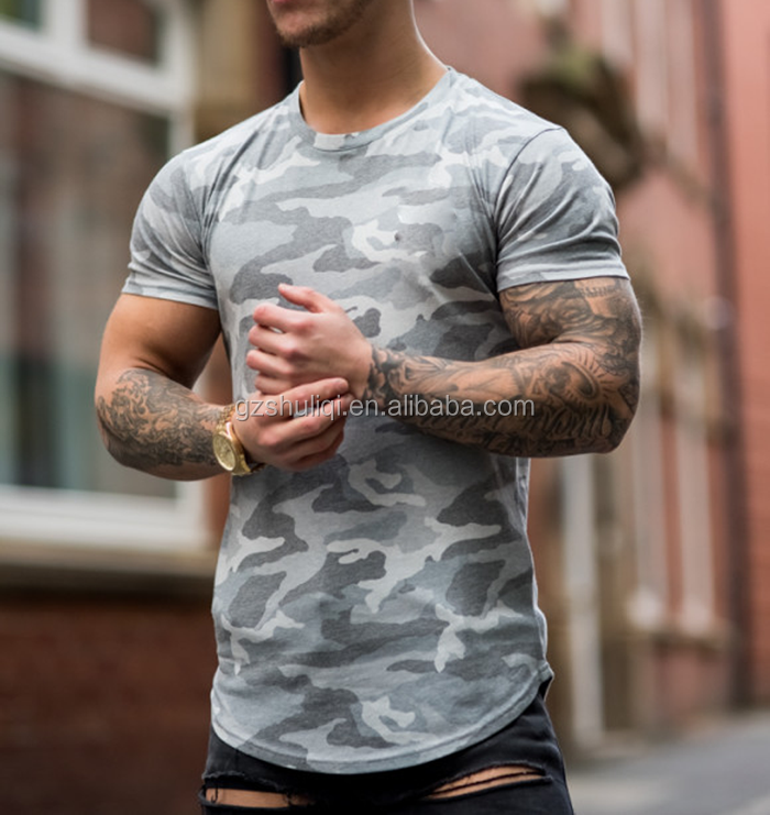 Wholesale camo print 60% cotton 40% polyester plain black t shirts/ new sltye o-neck 95 cotton 5 spandex men t shirts H-2691