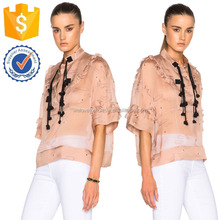 Summer Blush Half Sleeve Sheer Satin Fabric Top For Ladies Manufacture Wholesale Fashion Women Apparel (TF0220B)