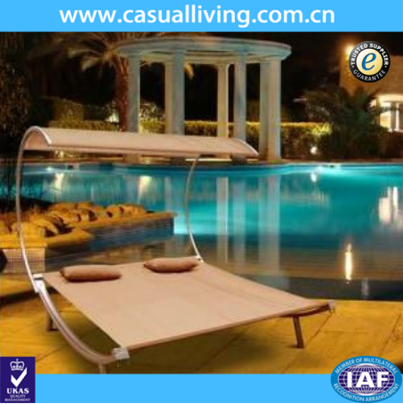 Outdoor Beach Pool Garden Double Chaise Lounge with Canopy