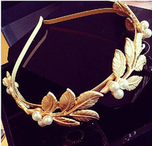 European Handmade Hair accessories pearl metal leaves headband bridal elegant hairband wholesale
