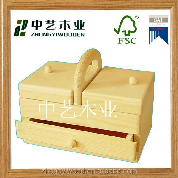 cheap hot sale new design folding finished wooden sewing box