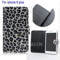 Hot new product for 2015 Leopard design wallet flip leather case for iphone 6 plus