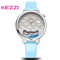 KEZZI Brand Leather Strap Cat & Fish Face Cute Girl's Watches Waterproof Life Ladies Wristwatch