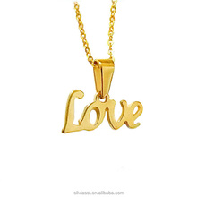 Olivia High Polish Stainless Steel Gold Cheap Wholesale Tiny Initial Letter Love Pendant Necklace
