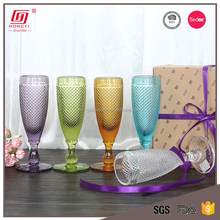 Christmas machine made colored glass diamond pressed champagne glass