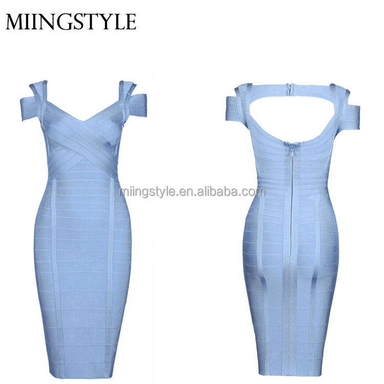 2017 Fashion women club evening dresses sexy bandage rayon dress for party