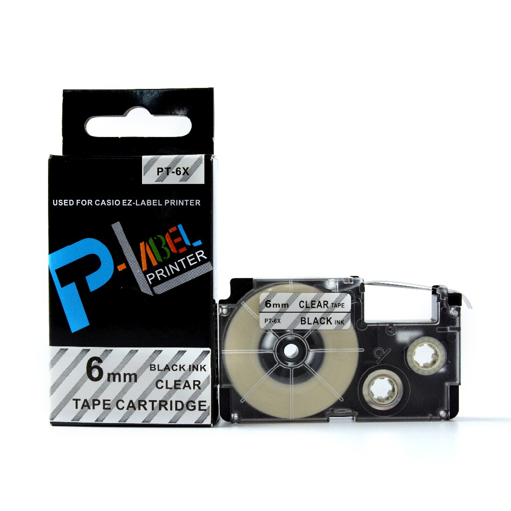 Black on Clear EZ-Label Tape XR-6X1 XR-9X1 Label Tape Cassette XR-12X1 XR-18X1 XR-24X1 For Casio EZ Label Printer