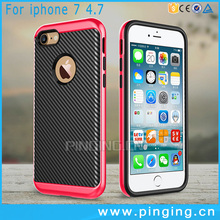 Hybrid Hard Bumper PC + TPU Carbon Fiber Phone Case For iPhone 7,For iPhone7 Silicone Cell Phone Shell