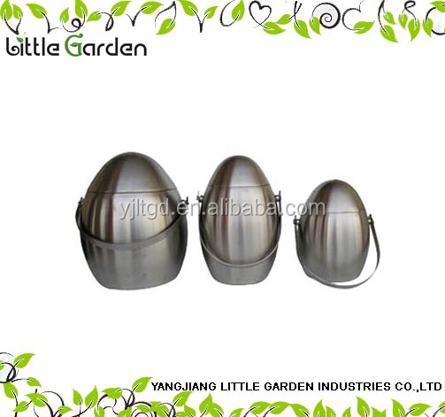 egg shaped stainless steel ice bucket with handle