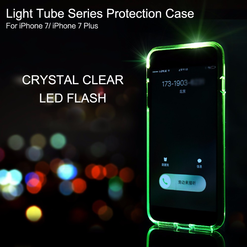 Case for iPhone 7 7 plus Led Flash Light Calling Notice Tube Series Phone Case For iPhone 7/7 Plus Cover