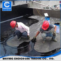 Non-curable rubber modified asphalt coating for waterproofing