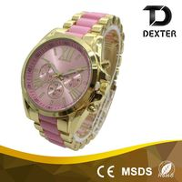 22mm wide alloy & plastic band colorful student ladies new style hand watch