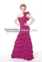 New design One-shoulder Pleated evening dress Fashion 2012 KT1012