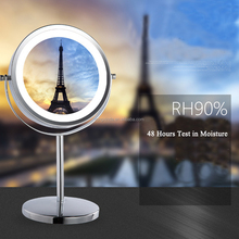 Round 360 Degree Rotating Big LED Makeup Mirrors Battery Salon Light Bathroom Mirror Beauty Double Sides Magnify Mirrors