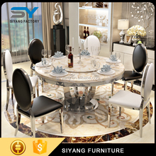 Modern high class marble dining set round rotating dining table CT011