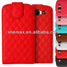 Quilted Leather Top Flip Cover Case for Samsung Galaxy S3 mini i8190