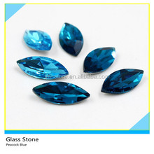 Wholesale Horse Eye Shape Peacock Blue Glass Crystal Rhinestones For Shoes Accessories 4x8 mm