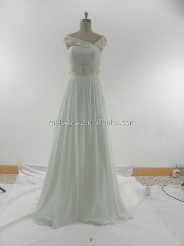 Korean fashion ladies elegant white appliqued bride wedding dress bridal gown