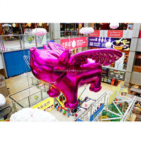 hot selling!!giant customized advertising shiny cartoon pink flying pig with wings inflatable for market decoretion