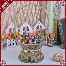 Wholesale planter with plastic liner seagrass handmade flower girl basket
