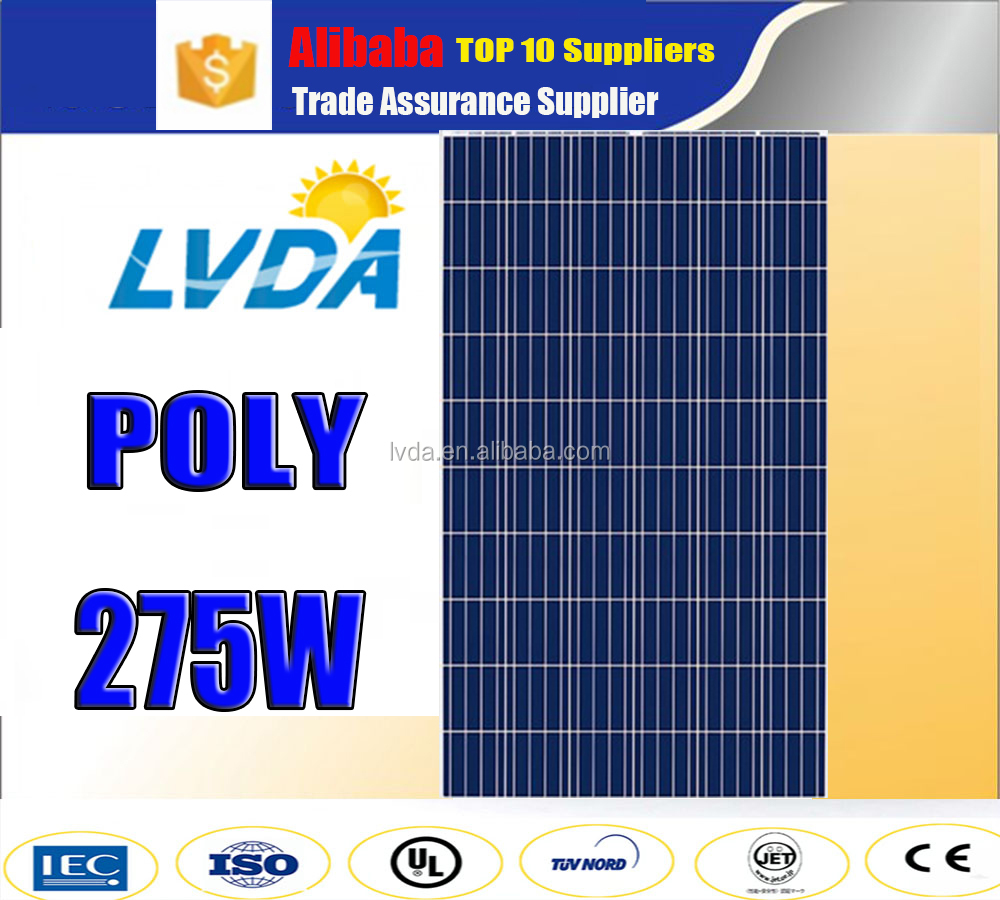 High Efficiency CE TUV polycrystalline Silicon material poly solar panel 275W poly solar panel