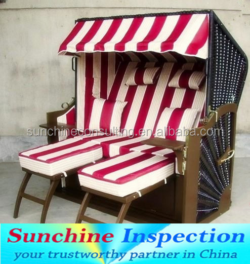 China professional quality inspection agent for strandkorb/outdoor furniture quality control for oversea buyers