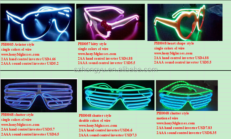 Flip Style Plastic EL WIRE Refractive Glasses With Strongest Diffraction Effect