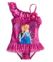 cheapest wholesale frozen swimwear kids one-piece swimsuit purple children girls beachwear