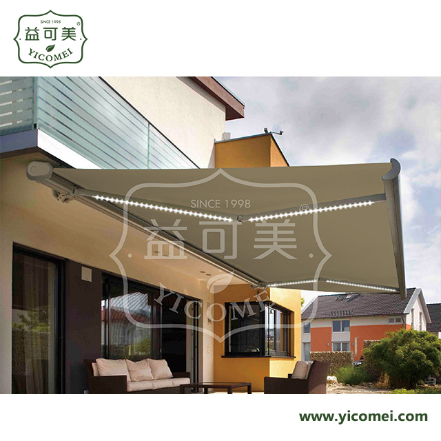 led metal frame full cassette retractable awnings