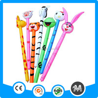 Wholesales animals head PVC inflatable plastic stick for walking120cm