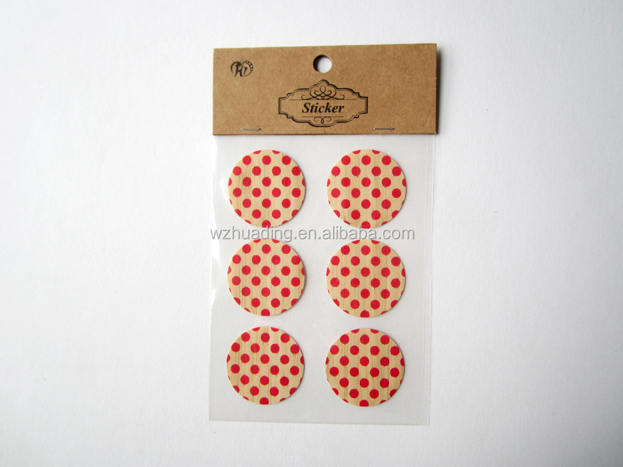 bamboo sticker with color printing for note book decoration