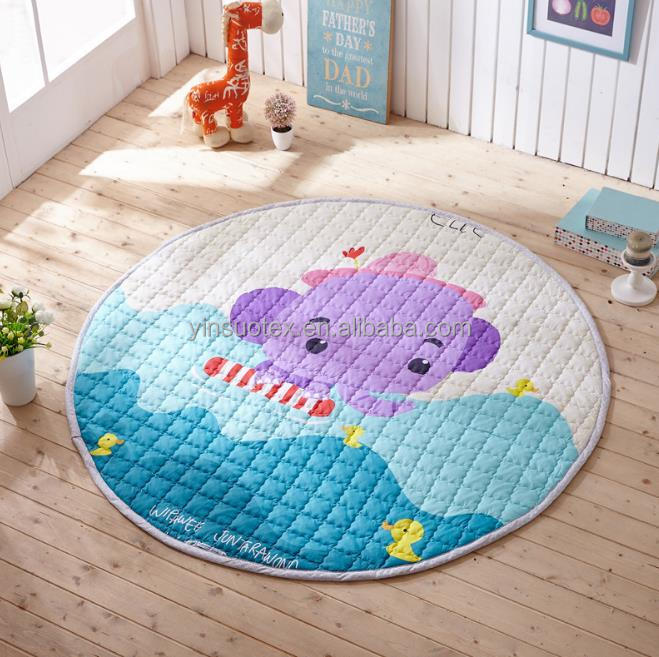 Comfortable little purple elephant pattern 100% cotton carpet crawl mat baby kids play mat