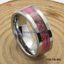 high polished 8mm tungsten band inlay pink camo wedding rings