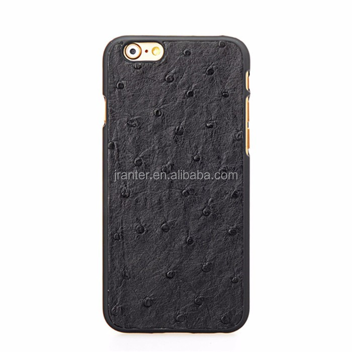 With Low MOQ OEM Ostrich Skin for iPhone 6 Leather Cover Latest Mobile Covers