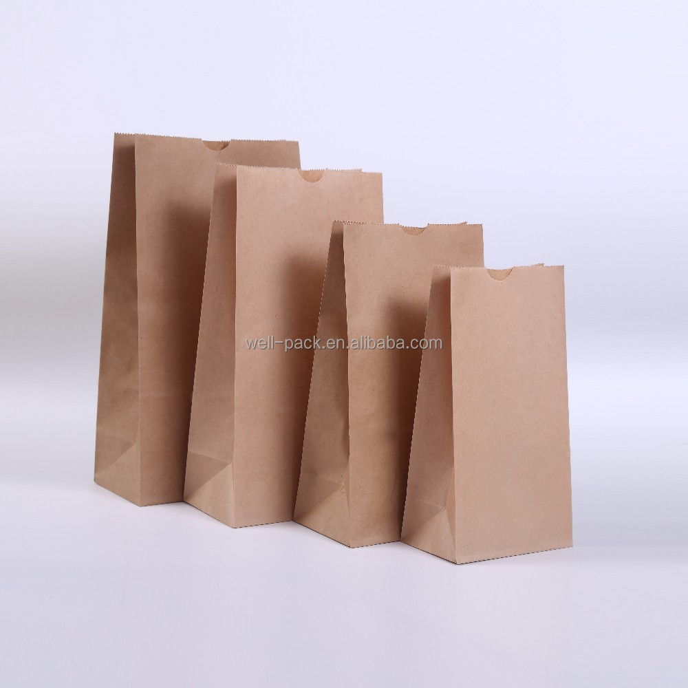 custom printed food greaseproof brown paper grocery bag