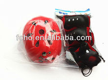 Red safety helmet with protective pads