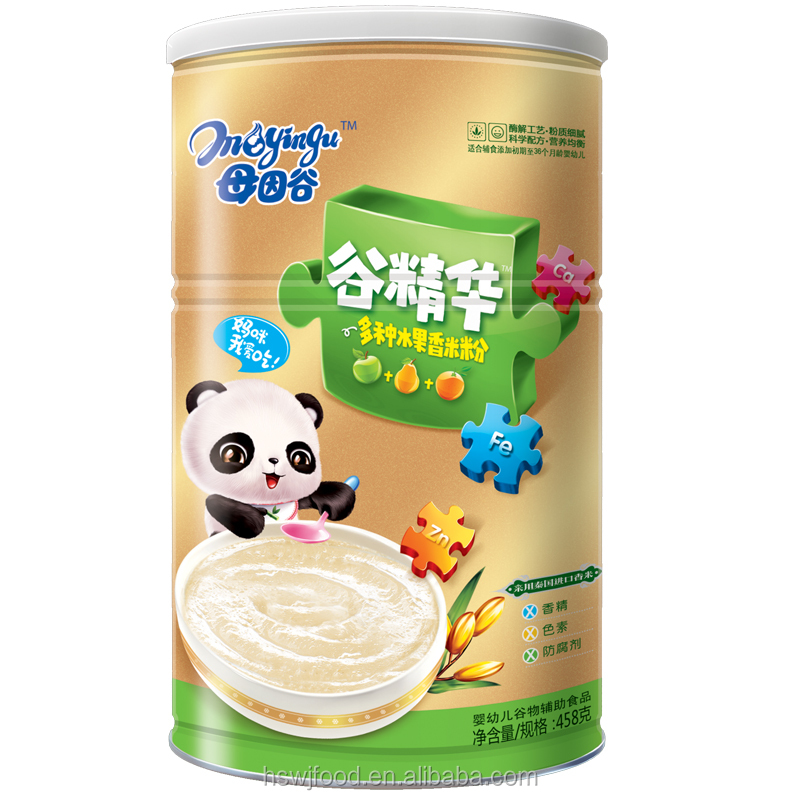 458g Fruits Nutrition Rice Baby Cereal; GuJingHua brand; Thailand fragrant rice; Gentle Smooth powder,bottle-fed