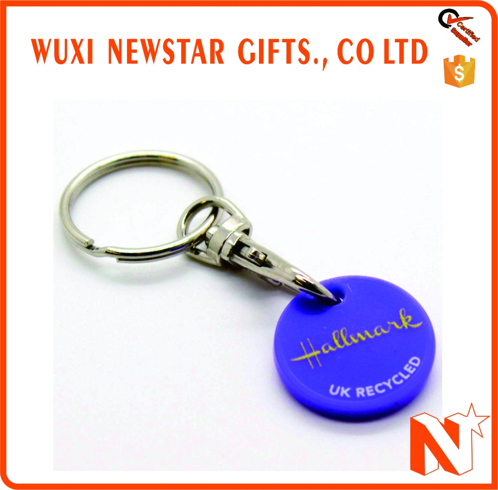 Hot Selling Custom Plastic Trolley Coin Keyring