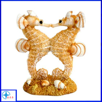 Resin Double Kissing Seahorse with Sand and Shells statue,sea animals statue