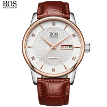 Genuine Leather 9016 Angela BOS Custom Logo Supported Watches Men Luxury Brand Automatic Mechanical